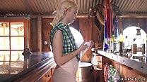 Blonde bartender anal fucked in saloon