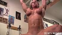 Naked Female Bodybuilder Shows Off Big Clit