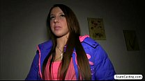 Brunette hottie Anita gains cash and gets fucked doogystyle by a fake agent