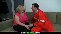 Huge boobs chubby blonde swallows his big dick