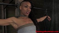 Ebony sub restrained and spanked