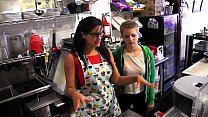 Young blonde Alani Pi has job interview as barista  at Penny Barber's  quick-service coffee shop