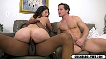Lasirena69 anal rides black monster cock while cuck jerks off