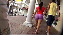 Candid Latina Walking In Pink Spandex Shorts