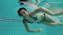 Shaved tight hottie Markova in the Czech pool