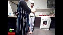His sister prepares breakfast and he puts the milk