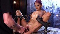 Petite slave in doggy bondage whipped
