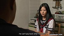 Asian teen clearing her father's debt with sex