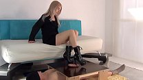Beautiful Blonde Girl Makes Guy Cum Twice With A Footjob