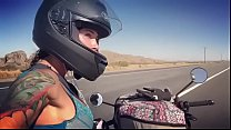 felicity feline motorcycle babe riding aprilia in bra