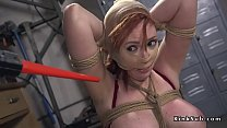 Dude anal fucked busty redhead in bondage