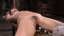 Hairy blonde is tied and machine fucked