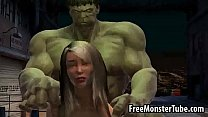 Foxy 3D babe gets fucked by The Incredible Hulk-high 2