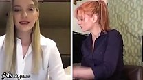 GIRLSWAY Kenna James And Her Boss Masturbate Remotely During The Quarantine