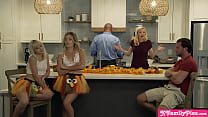 Thanksgiving teen stepsisters Katie Kush and Jessie Saint stuffing