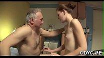 Juvenile slut enjoys old dick