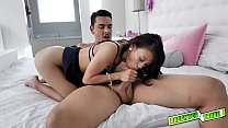 Jasmine Grey climbs on the bed and sucks Naomis dad cock before going on top!