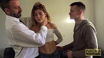 Skinny teen Rhiannon Ryder destroyed in DP threesome