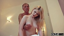 Nympho sucks grandpa cock and has sex with him in her bedroom