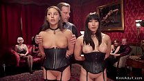 Submissive slaves at orgy bdsm party