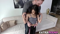 Tiny Asian teen with small tits Jasmine Grey rides a cock