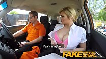 Fake Driving School Posh busty blonde examiner fucks and swallows in POV