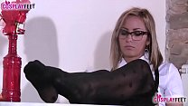 Blonde schoolgirl in stockings plays with her feet