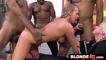 Busty Blonde Mentored Into Her First Interracial Gang Bang (Britney Young, Leya Falcon)