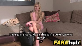 Fake Agent UK Blonde orgasms from hard finger banging on casting couch