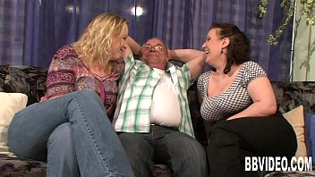 Two busty slags share a hard prick